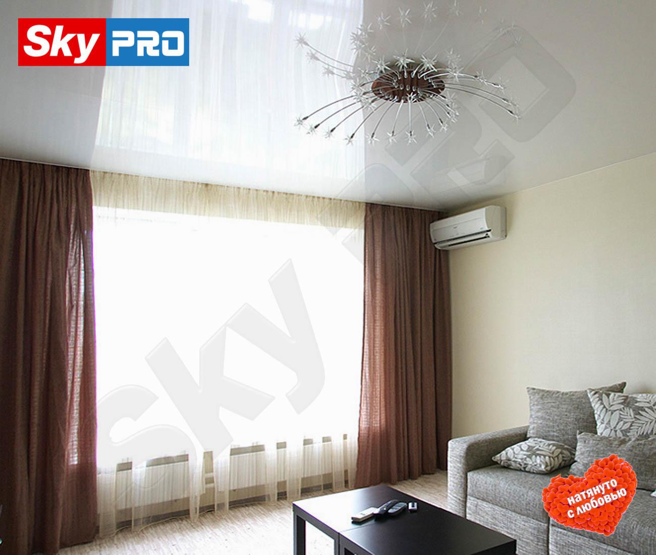 Белый глянцевый натяжной потолок Лайт цена за метр